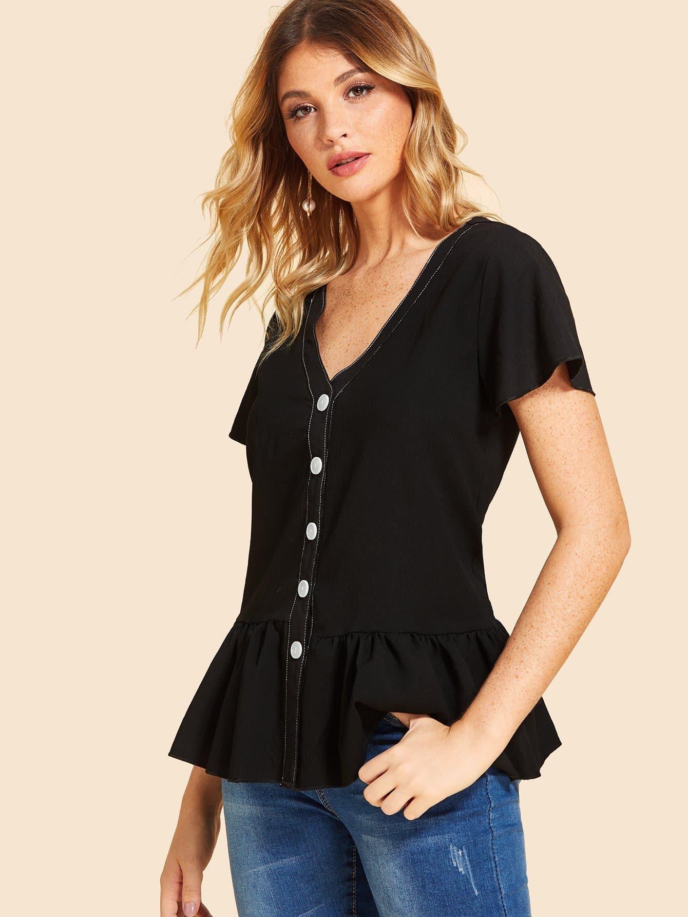 Купить Повседневный Одноцветный Пуговица Черный Блузы+рубашки, Nathane, SheIn
