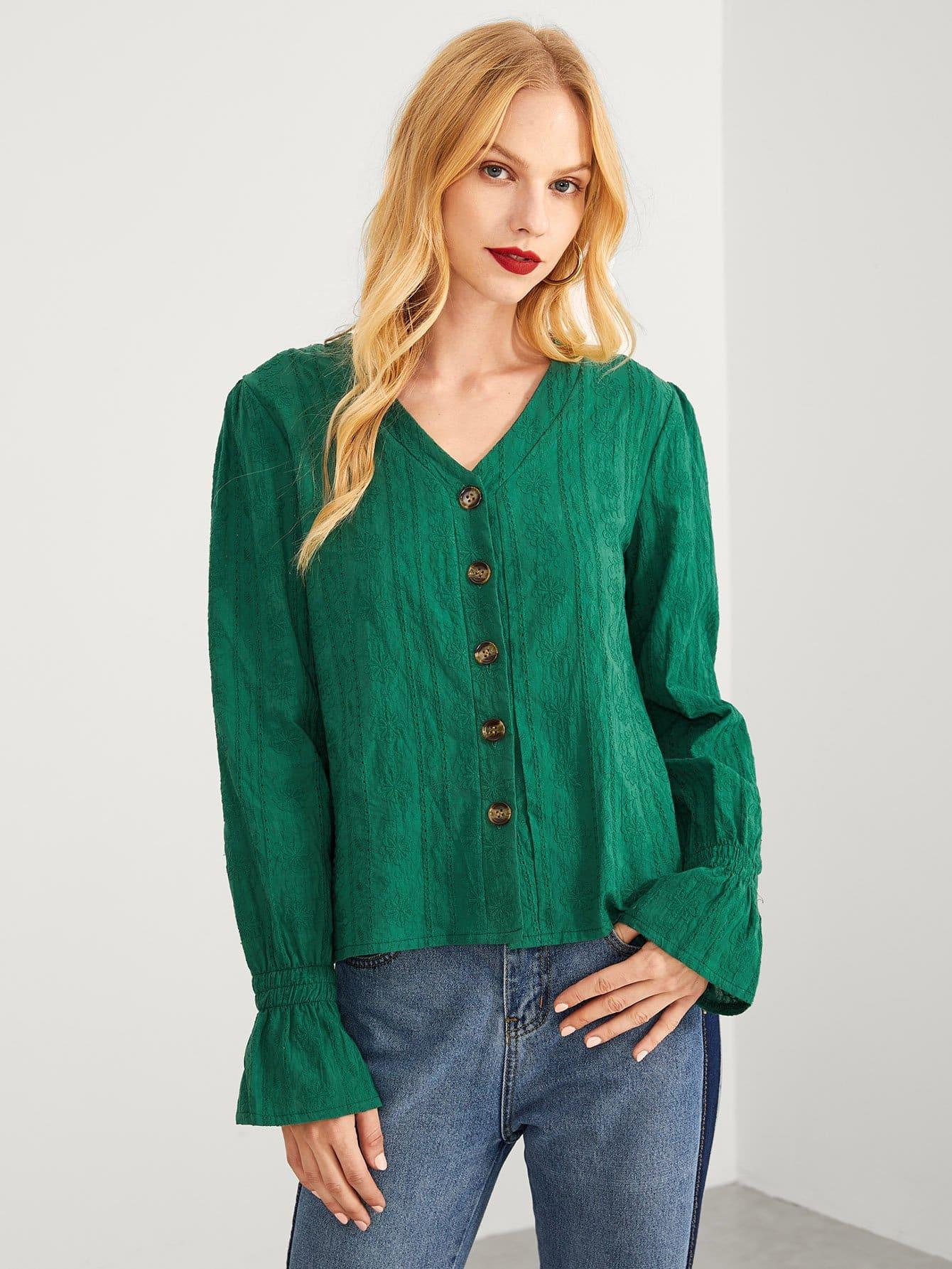 Купить Зеленый Пуговица Одноцветный Повседневный Блузы+рубашки, Nedab, SheIn