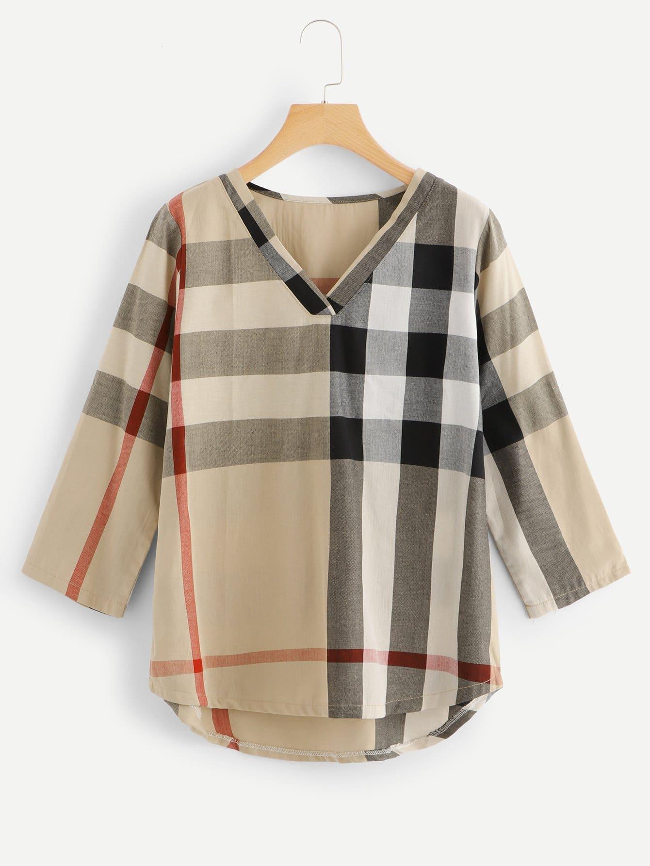 Купить Повседневный Клетчатый Асимметричный Многоцветный Блузы+рубашки, null, SheIn