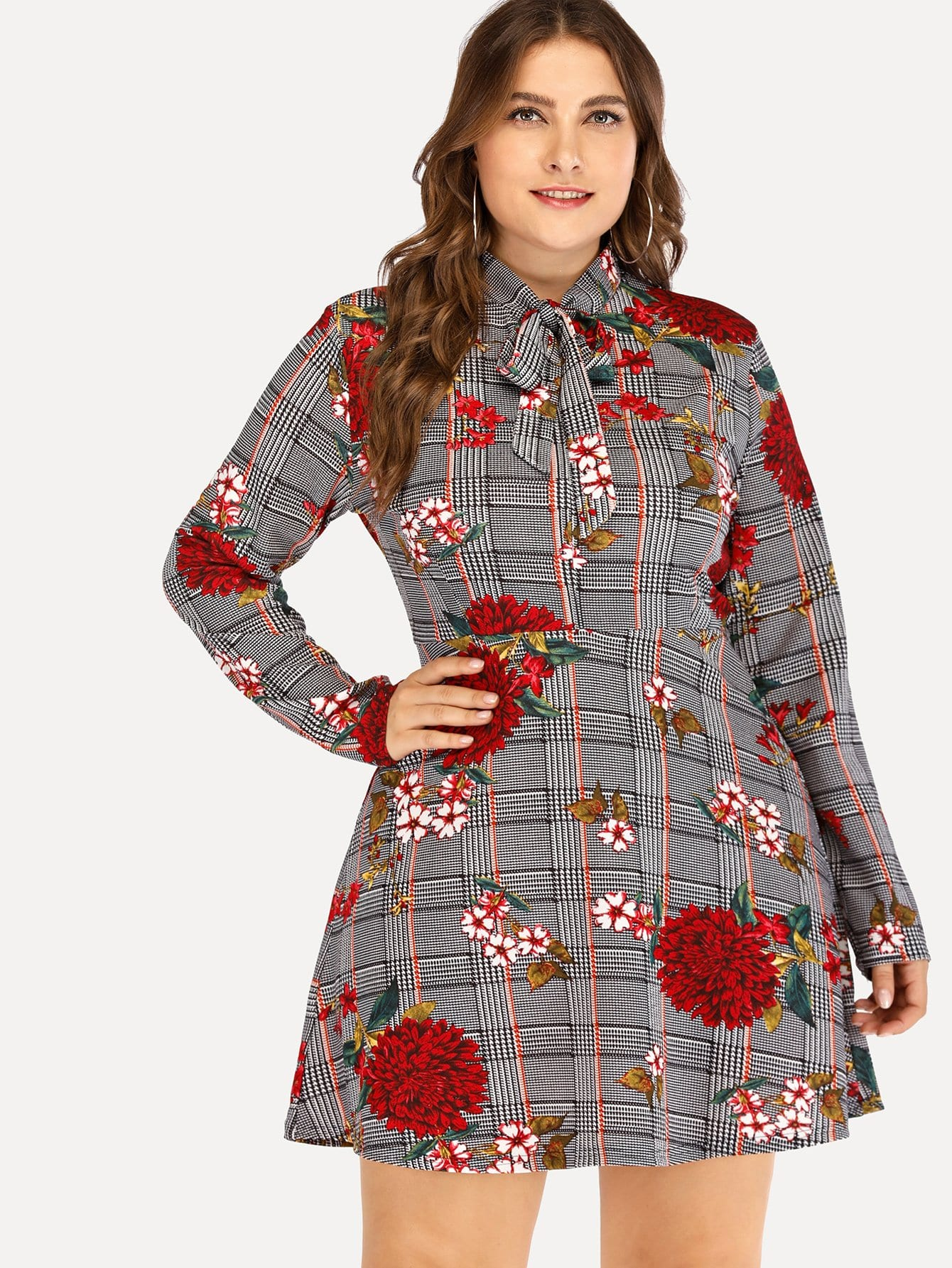 Plus Size Knot Front Floral Embroidery Dress
