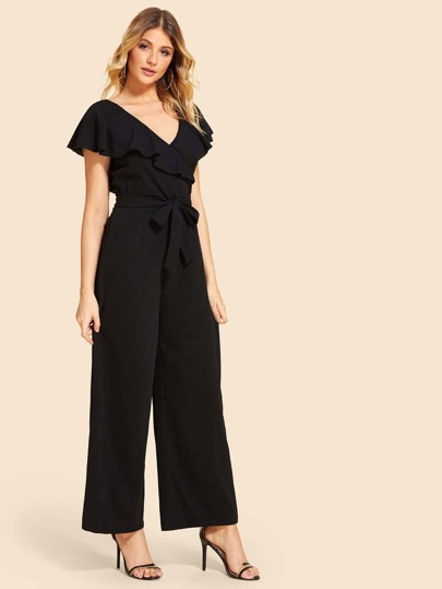 SheIn / Ruffle Trim Knot Front Backless Jumpsuit