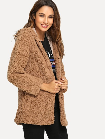 SheIn / Open Front Hoodie Solid Teddy Outerwear