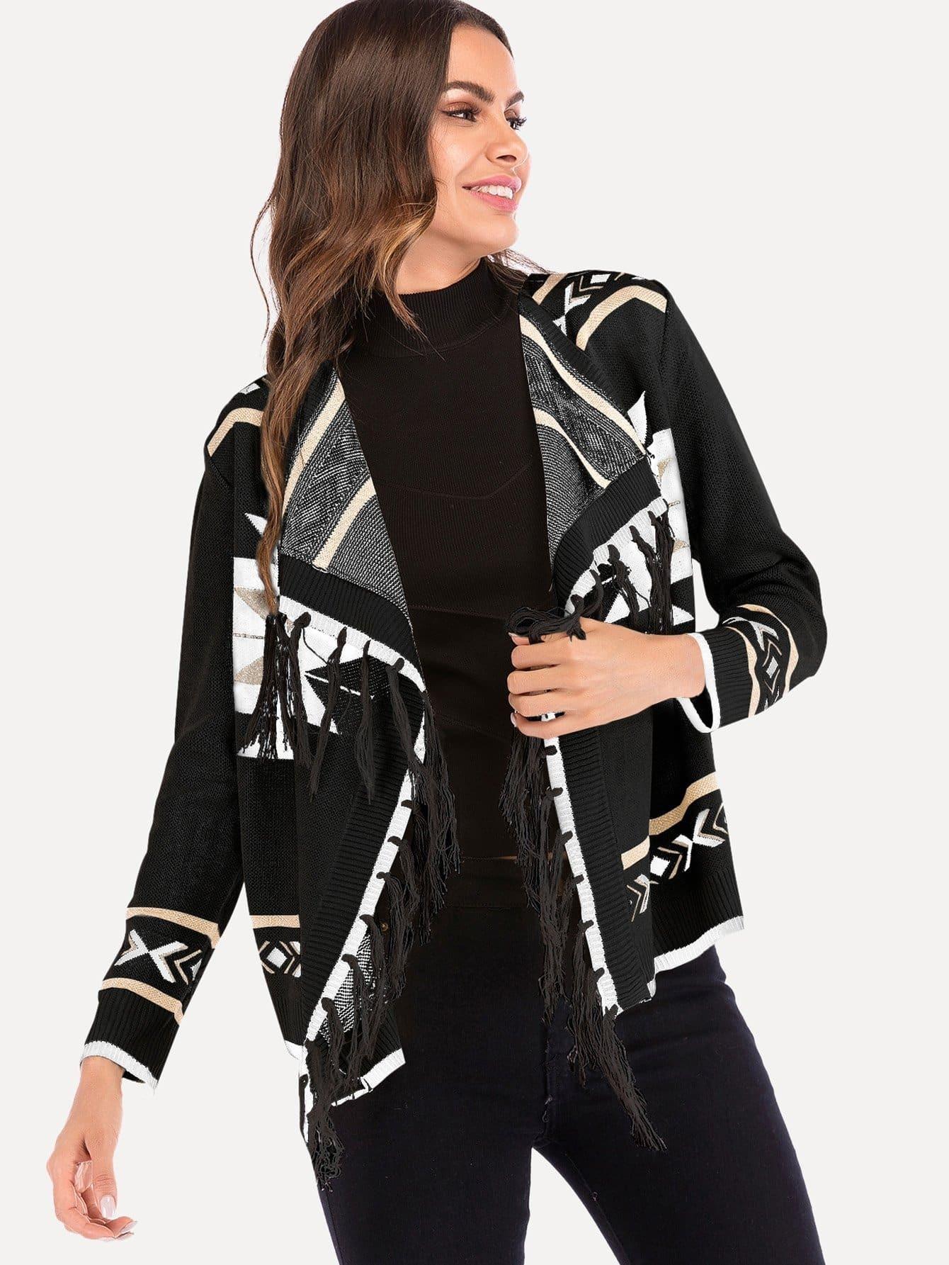 Fringe Detail Geometric Print Sweater infiniti очки солнцезащитные