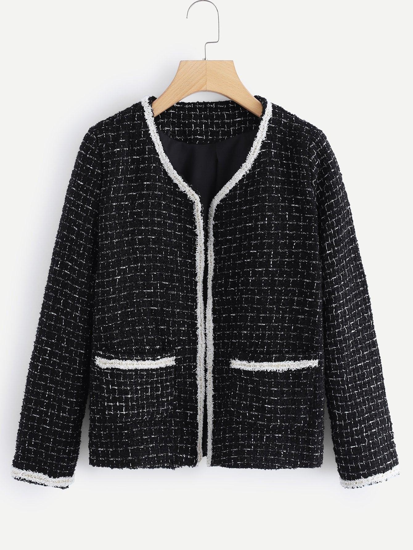 Пальто в клетку и со симметрическими оторочками SheIn