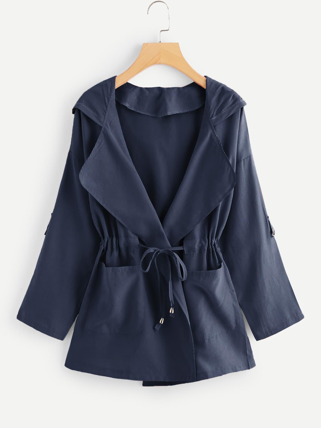 Купить Пальто с капюшоном и карманами, null, SheIn