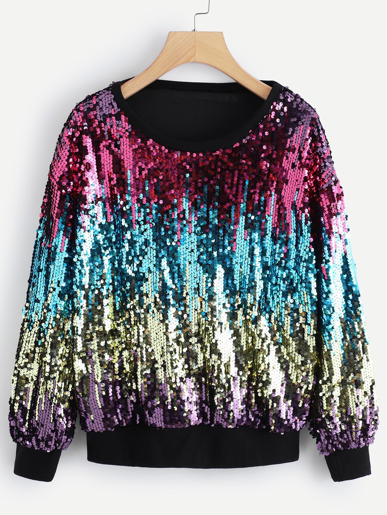 Купить Повседневный Контрастные блестки Пуловеры Многоцветный Свитшоты, null, SheIn