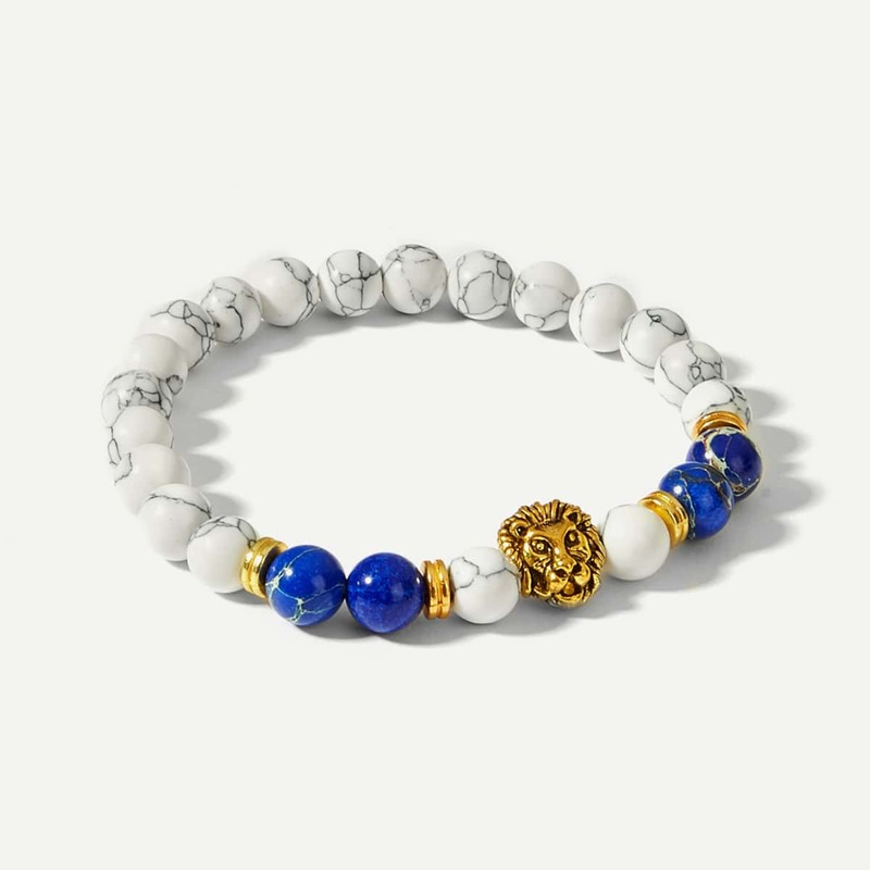 Guys Lion Detail Beaded Bracelet, White