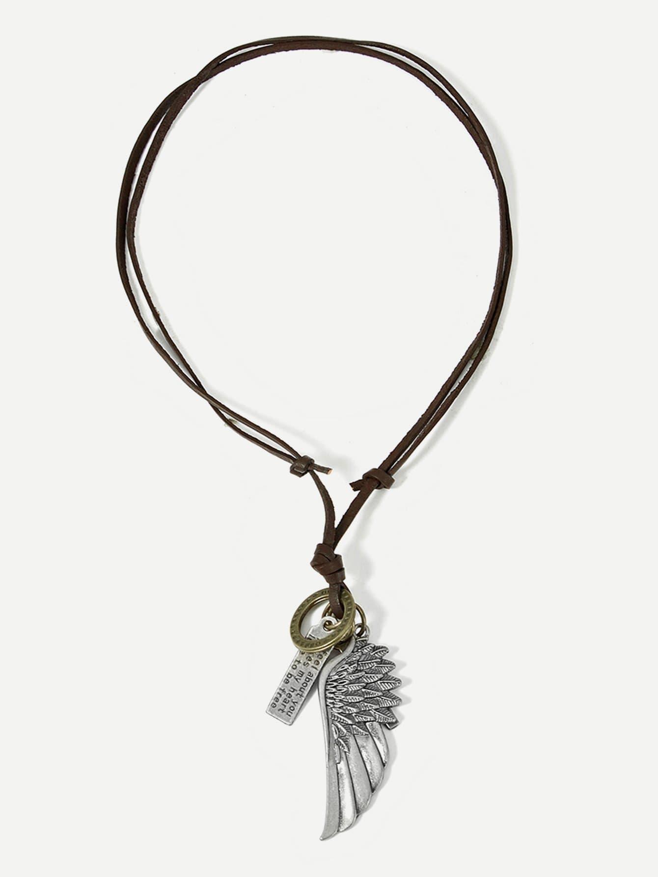 Купить Ожерелье с подвеской крыла для мужчины, null, SheIn