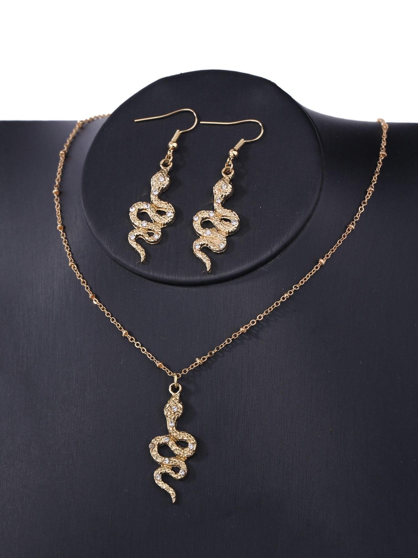 Serpent Pendentif Collier & Boucles D'Oreilles
