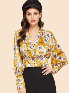 Bishop Sleeve Banded Hem Floral Blouse