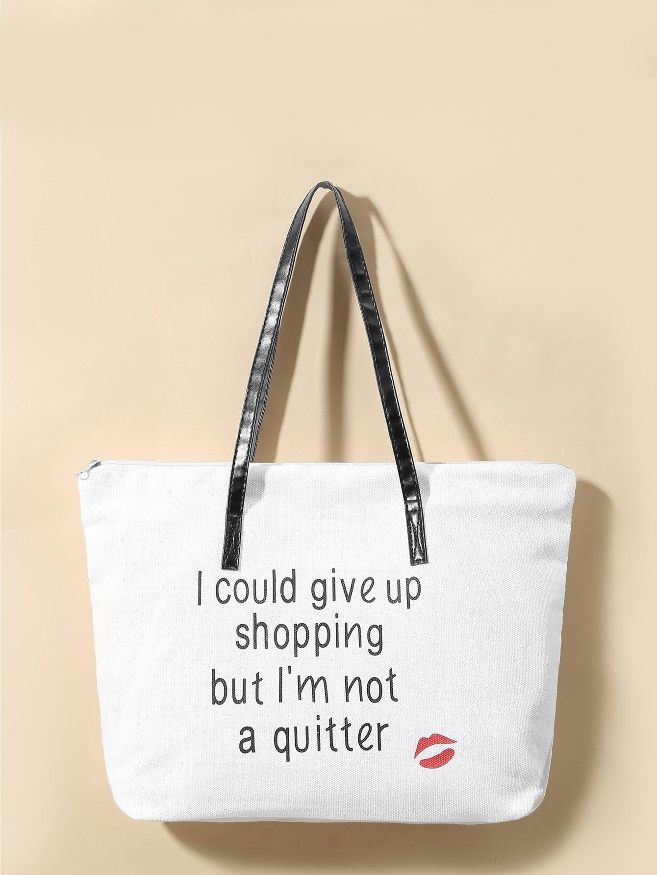 Холст сумка со слоганным принтом