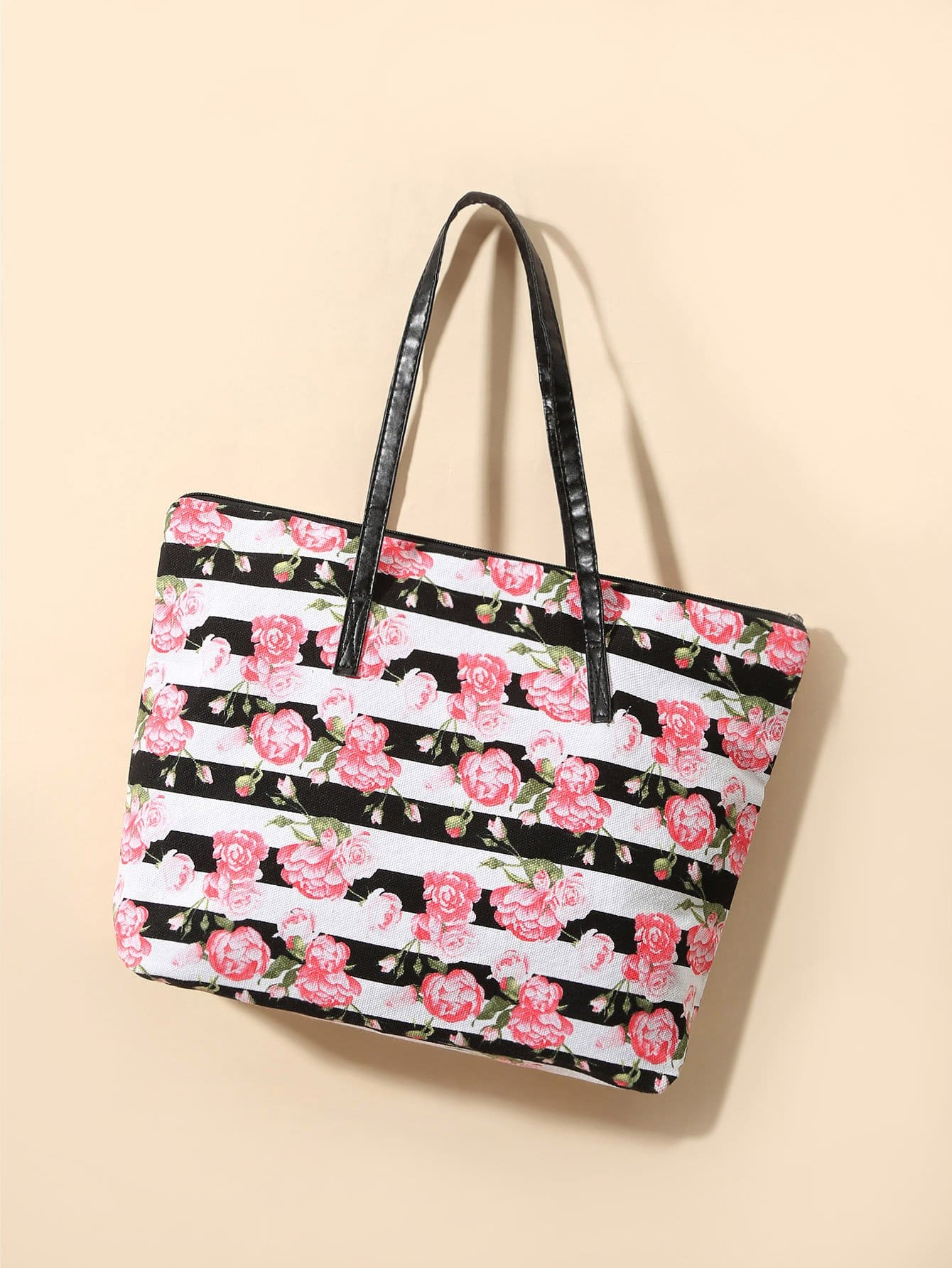 Allover Flower Print Tote Bag