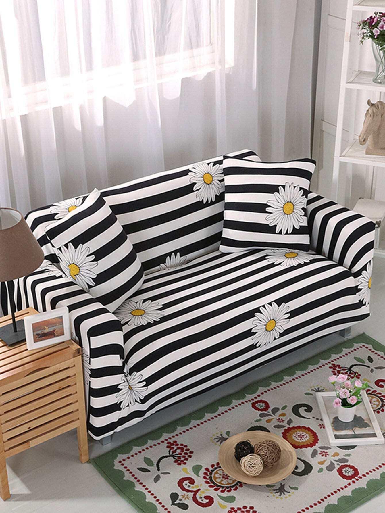 Купить Эластичный полосатый чехол для дивана и чехол для подушки 1 шт, null, SheIn