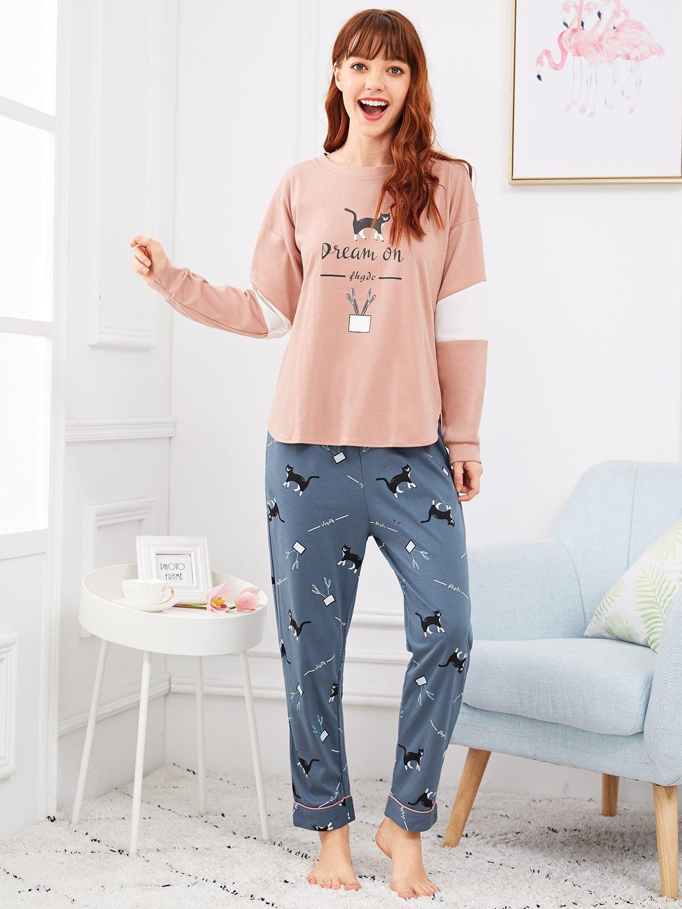 Купить Комплект пижамы с рисунками кота и буквы, Poly, SheIn
