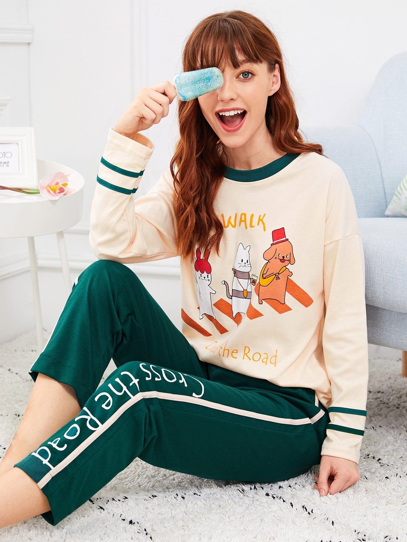 Купить Комплект пижамы с рисунками мультипликаций и буквы, Poly, SheIn