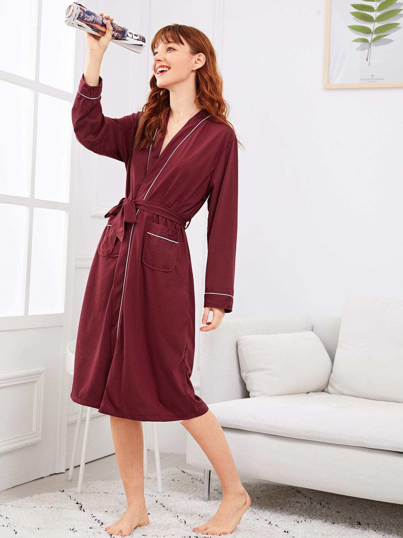 Купить Домашний халат с поясом и со симметрическими Binding, Poly, SheIn