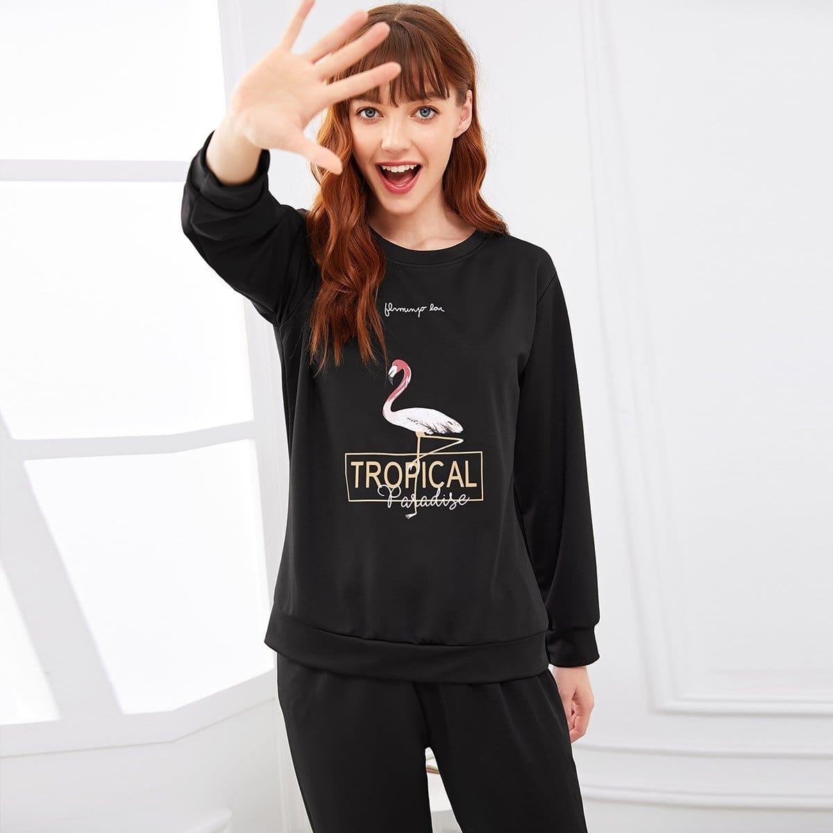 Pyjamaset met opschrift en flamingoprint