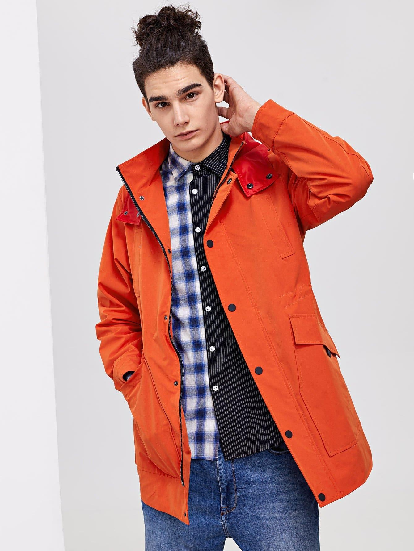 Купить Пальто с капюшоном и карманами для мужчины, Adam T, SheIn