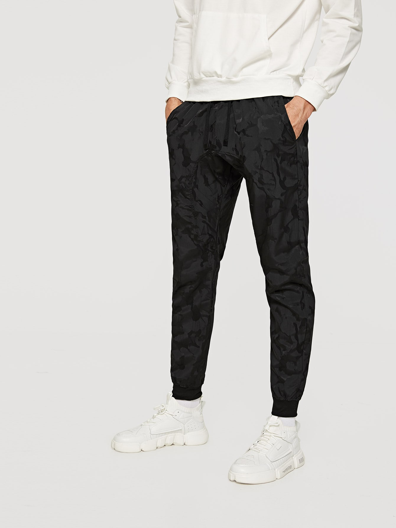 Men Plain Drawstring Pants