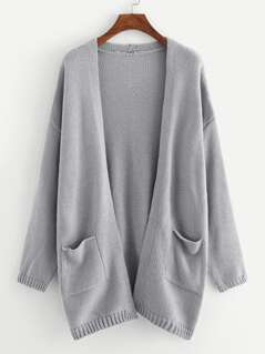 Pocket Patched Solid Cardigan