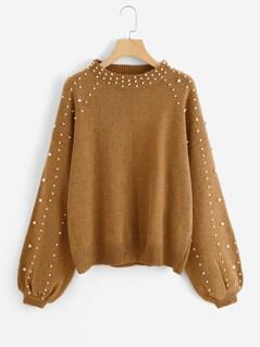 Bishop Sleeve Pearl Beading Crop Sweater