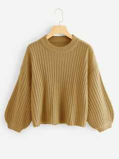 Bishop Sleeve Rib Knit Sweater