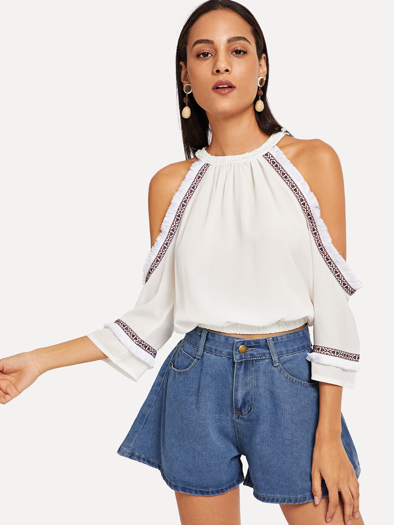 Embroidered Tape Detail Open Shoulder Blouse