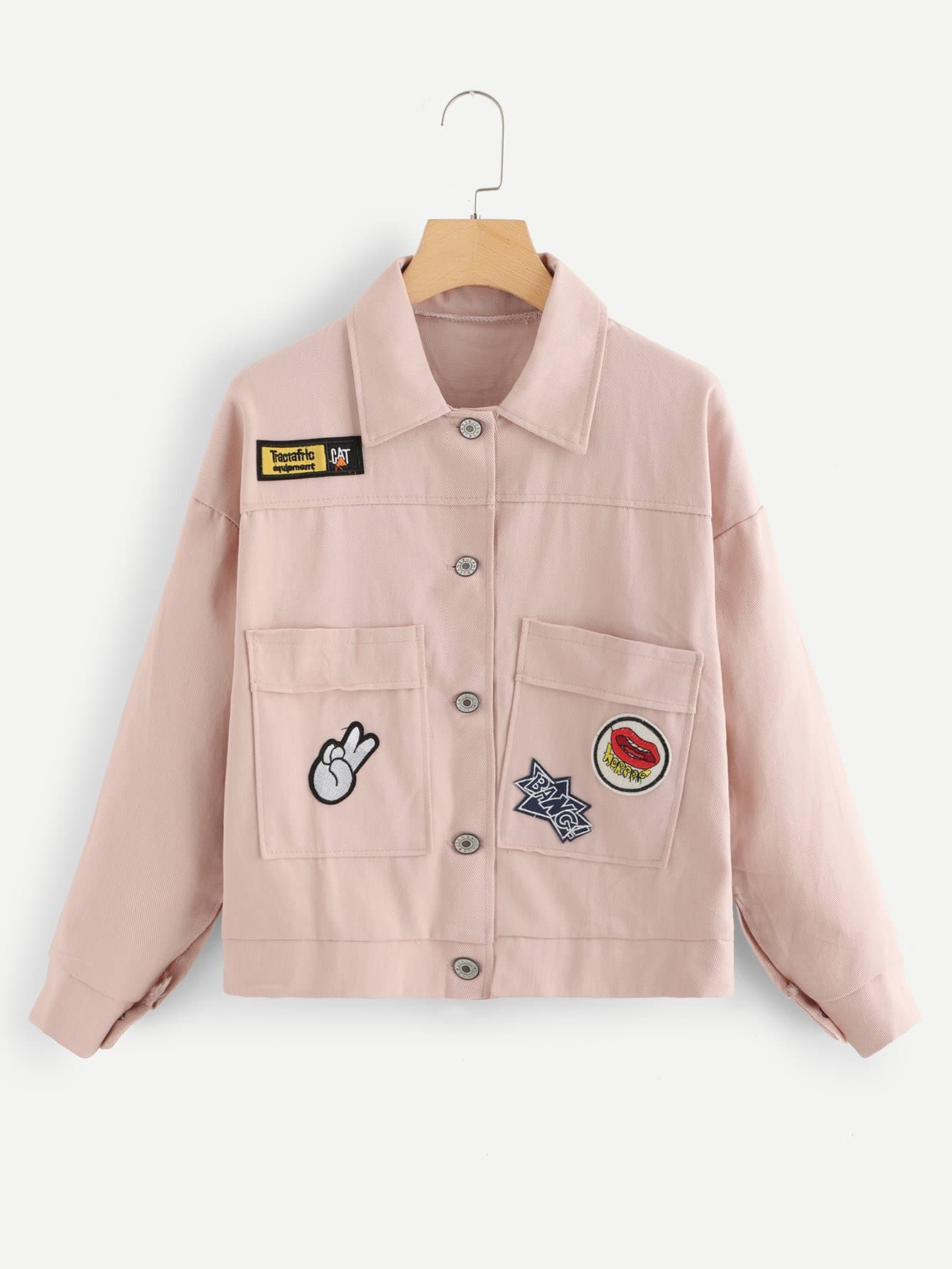Embroidered Patch Drop Shoulder Denim Jacket