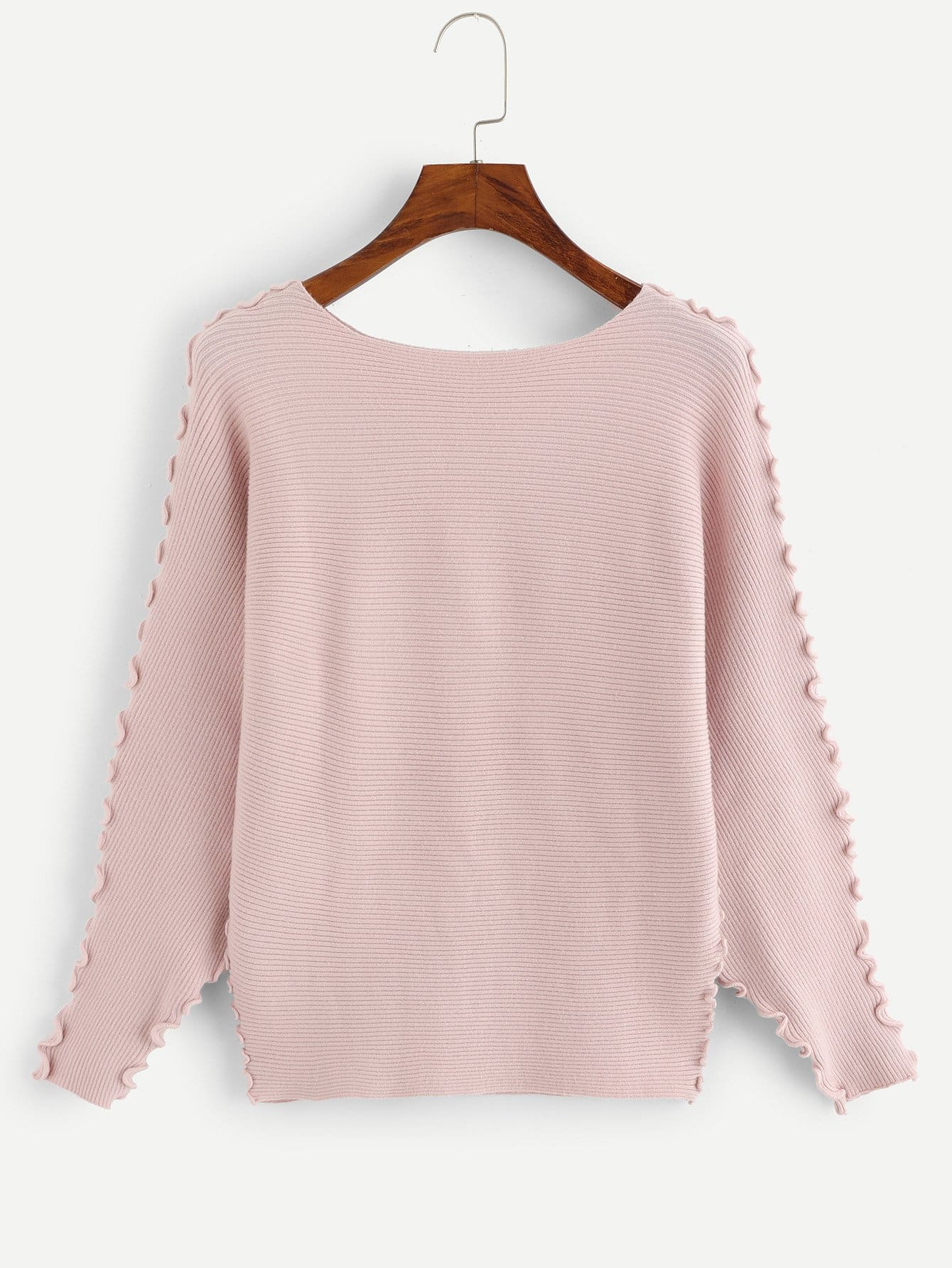 Lettuce Trim Batwing Sleeve Ribbed Sweater