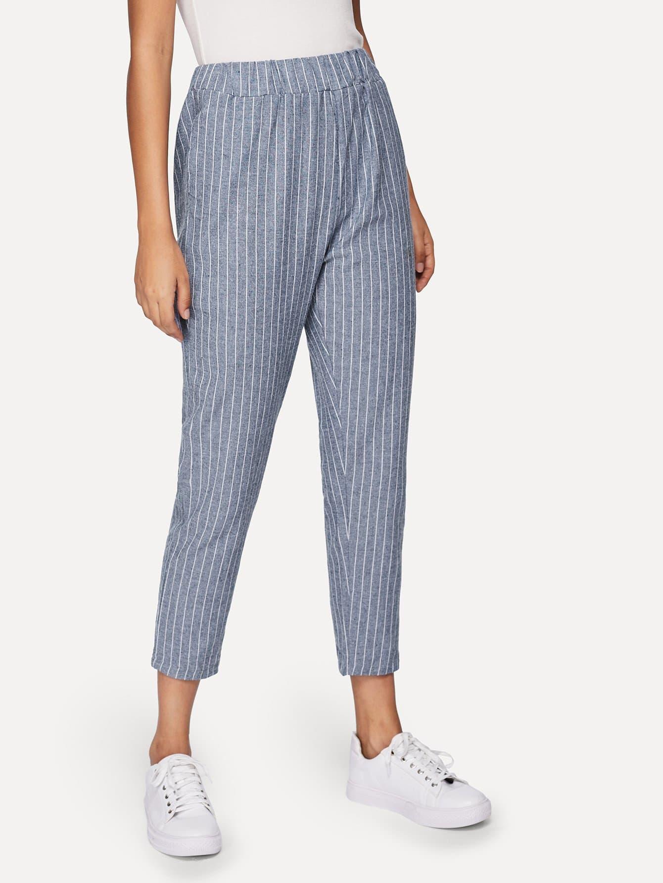 Pinstriped Elastic Waist Pants