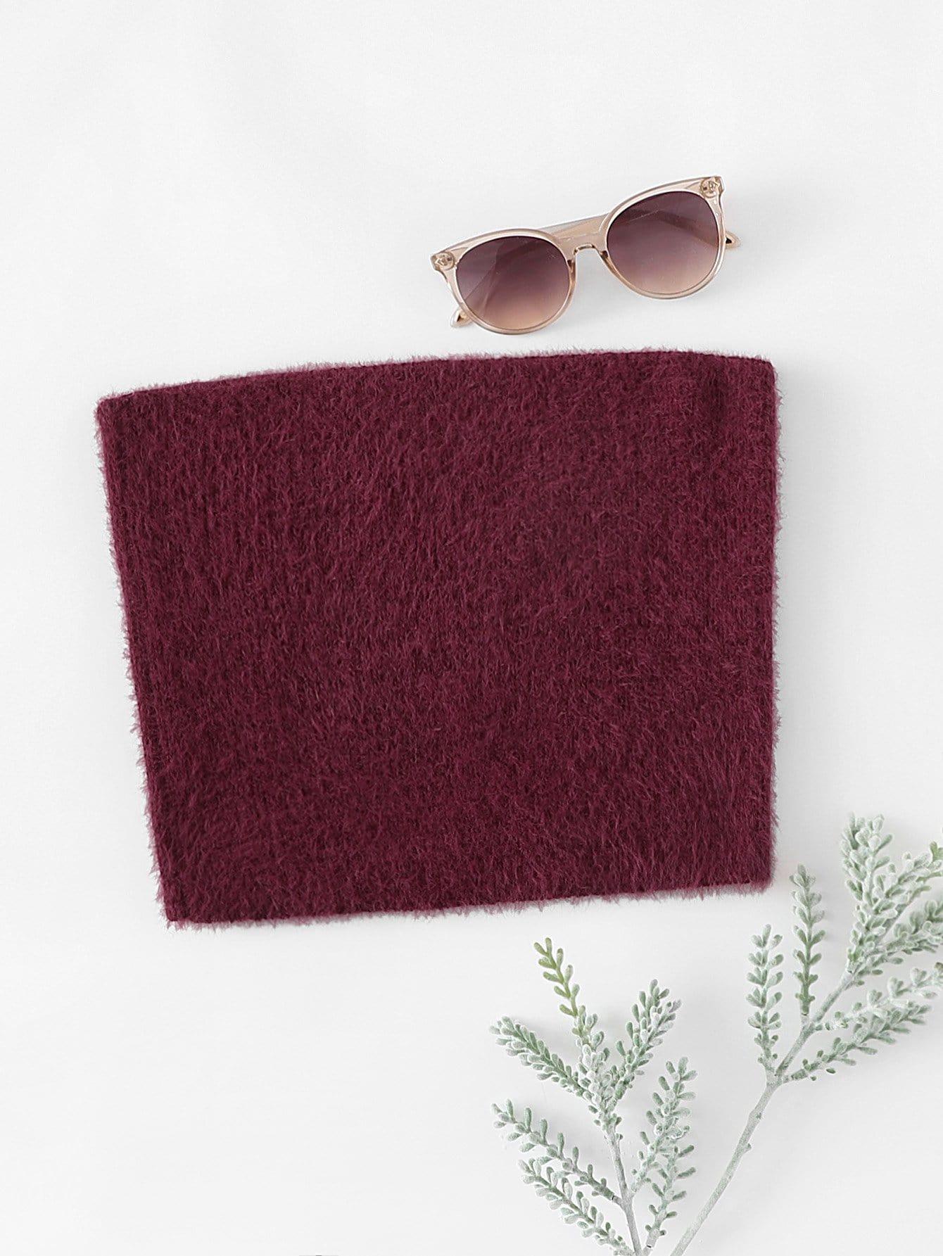 Fuzzy Crop Bandeau Top