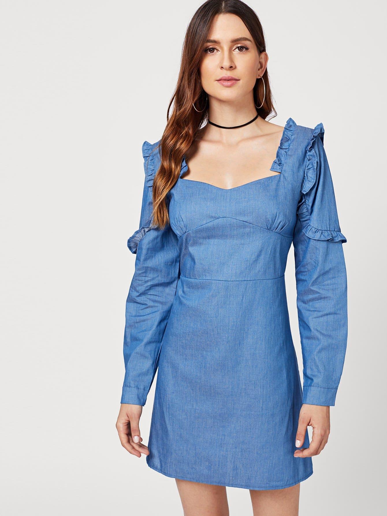 Купить Джинсовое платье с розеткой и воротником сердца, Jana, SheIn