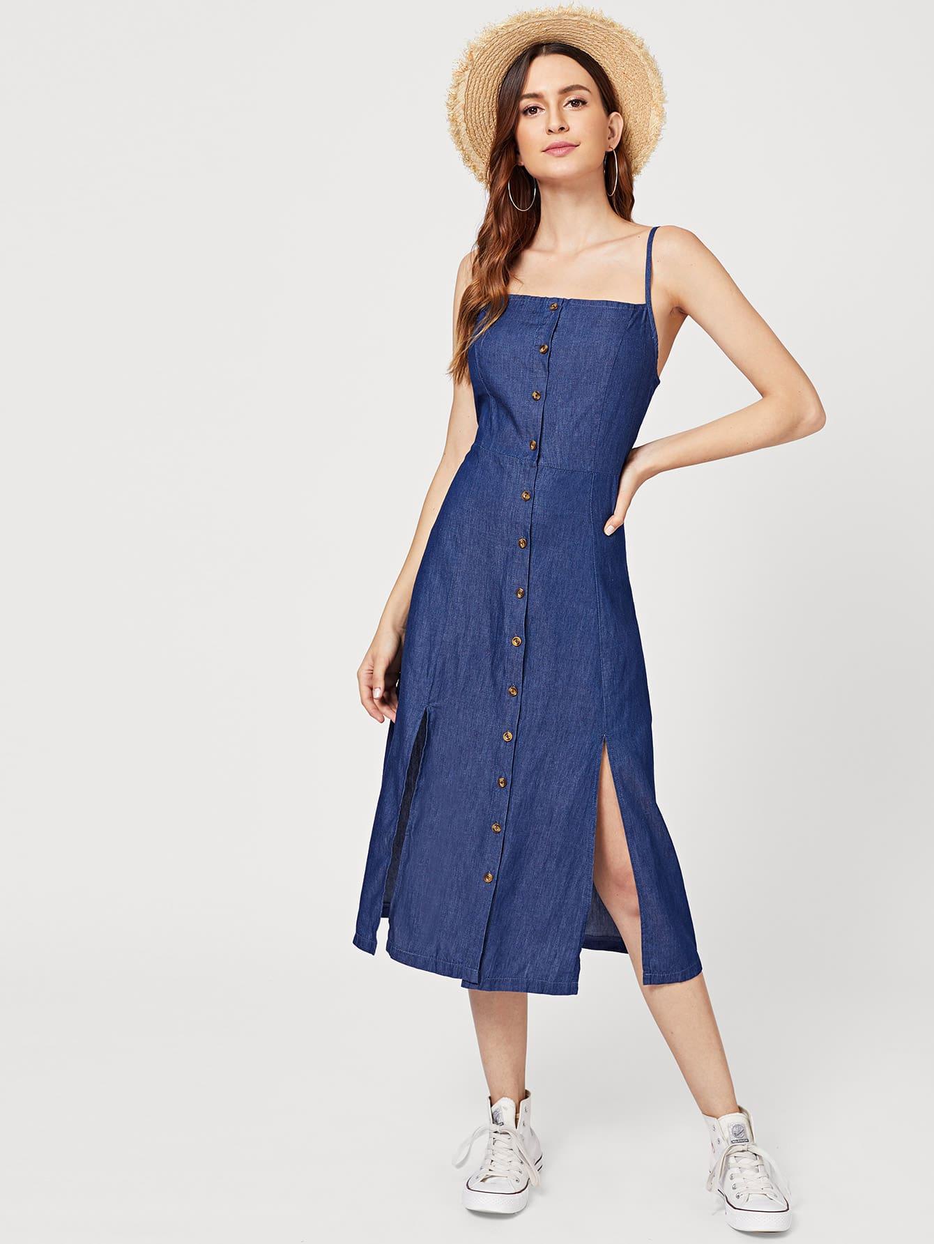 Купить Джинсовое платье на бретелях и с украшением пуговицы, Jana, SheIn