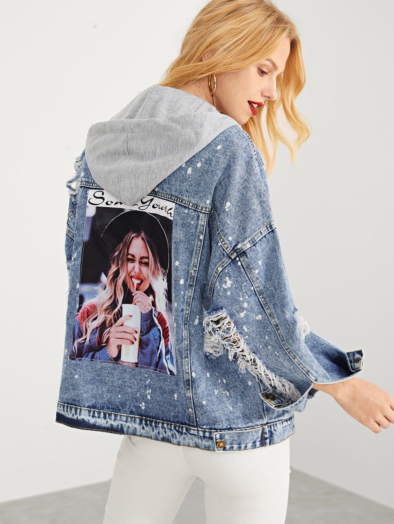 Рваная джинсовая ветровка с капюшоном и рисунком девушки SheIn