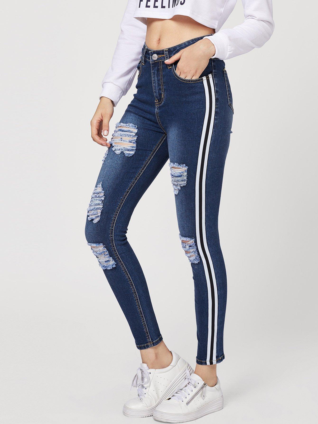 Купить Рваные джинсы со симметрическими полосами, Jana, SheIn