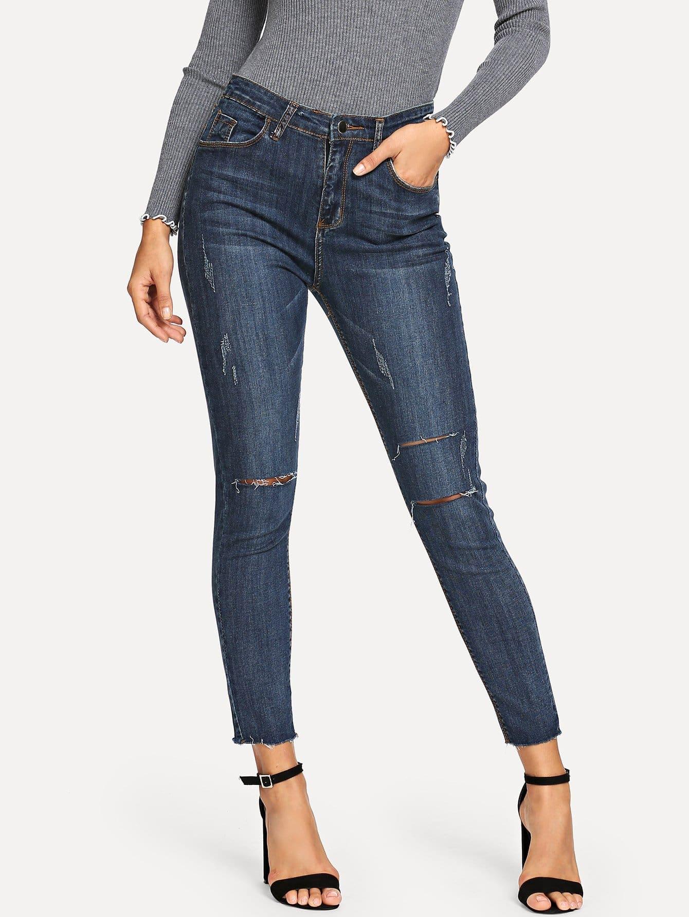 Купить Рваные облегающие джинсы с небработанным краем, Juliana, SheIn