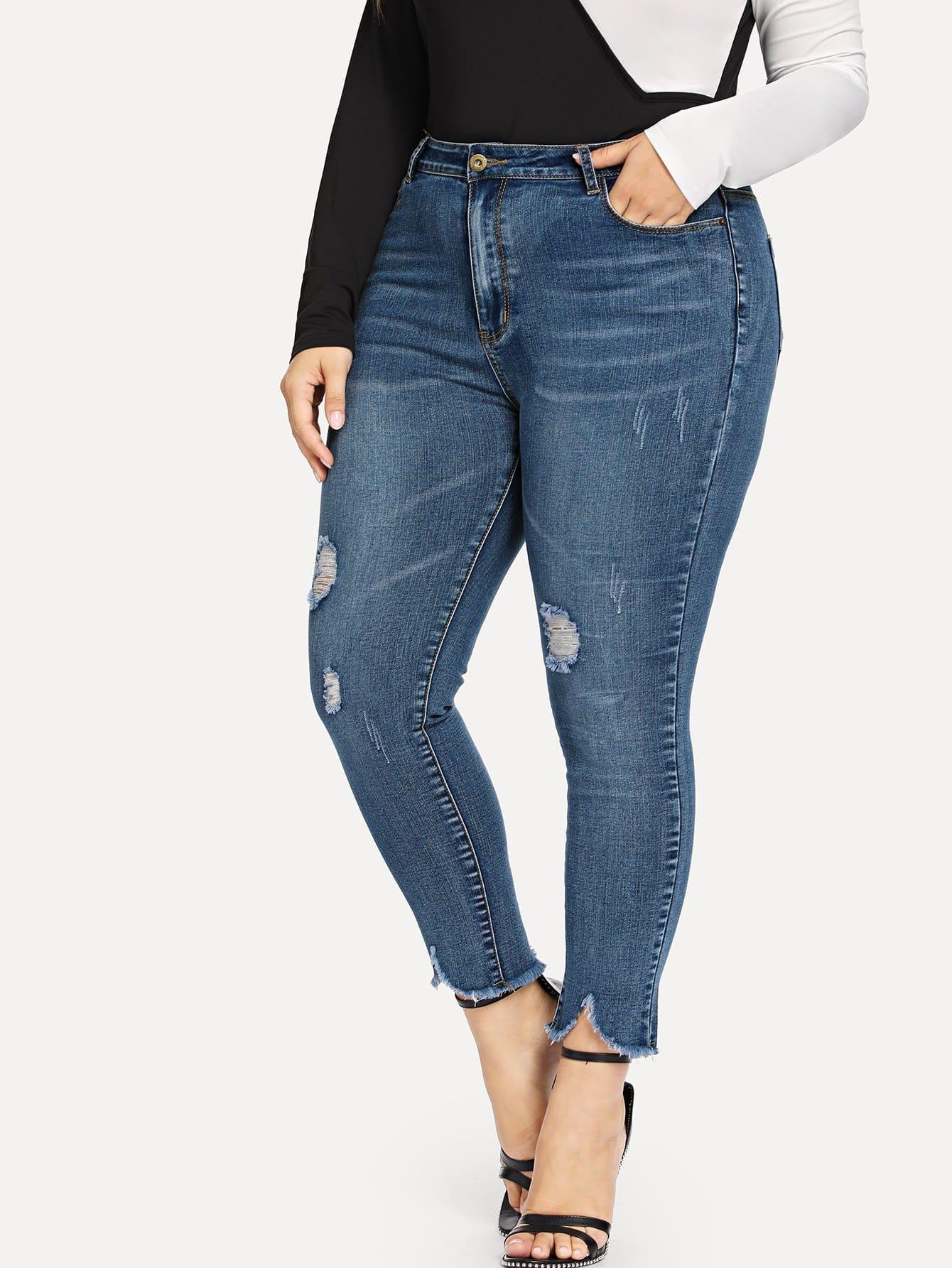 Купить Размера плюс рваные обтягивающие джинсы с необработанным краем, Franziska, SheIn