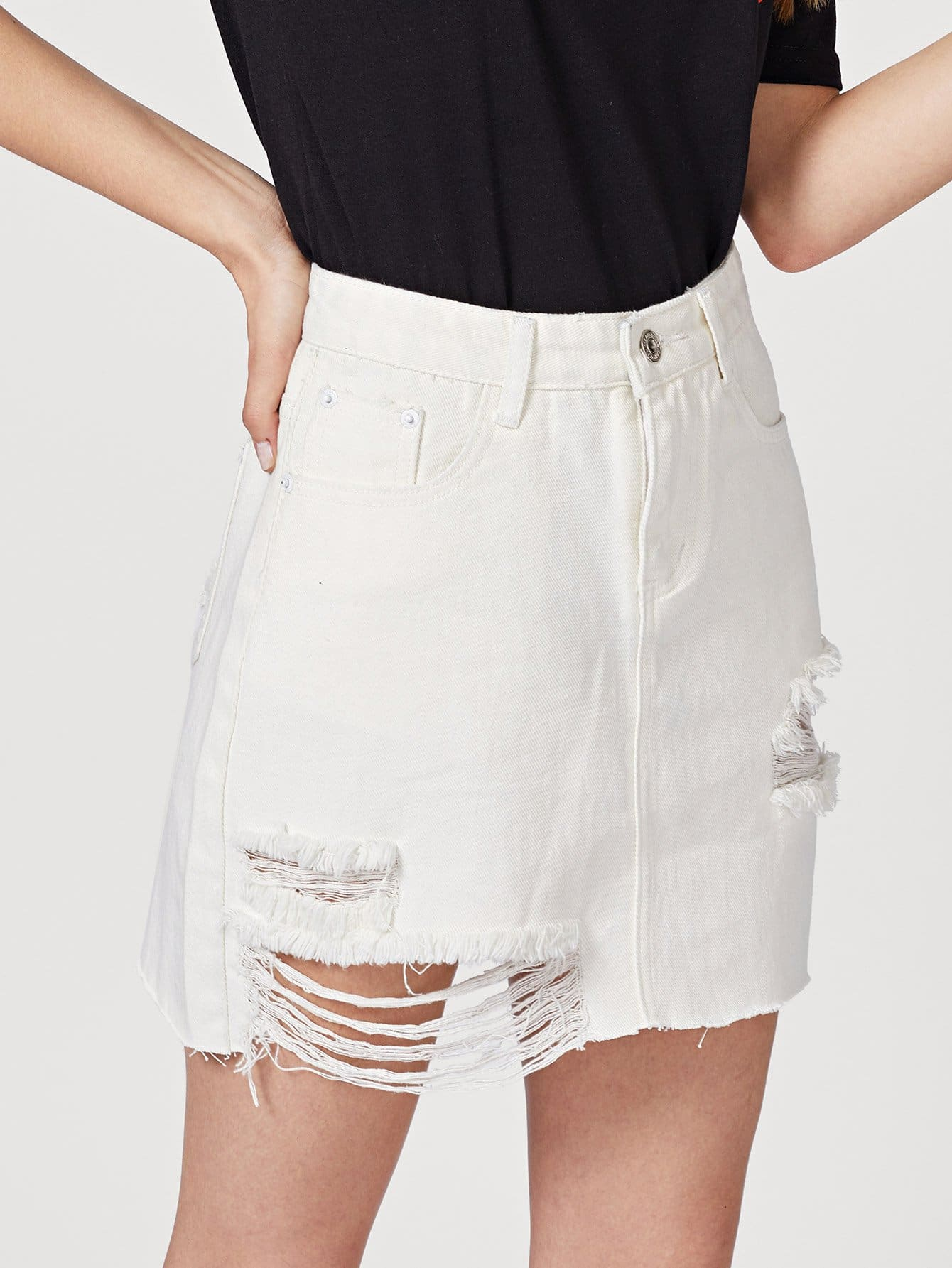 Купить Рваная джинсовая юбка со сырыми оторочками, Jana, SheIn