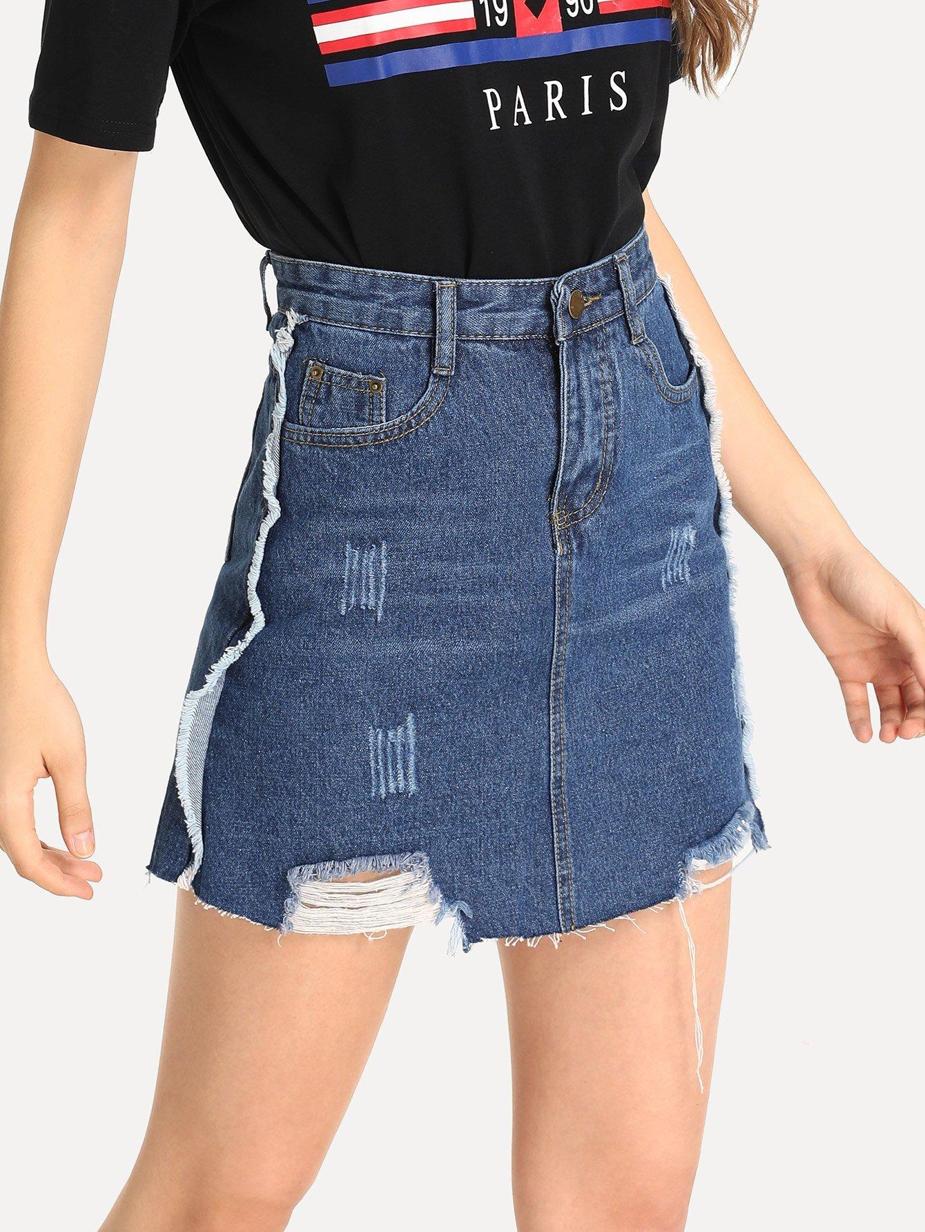 Купить Рваная джинсовая юбка с небработанным краем, Jana, SheIn