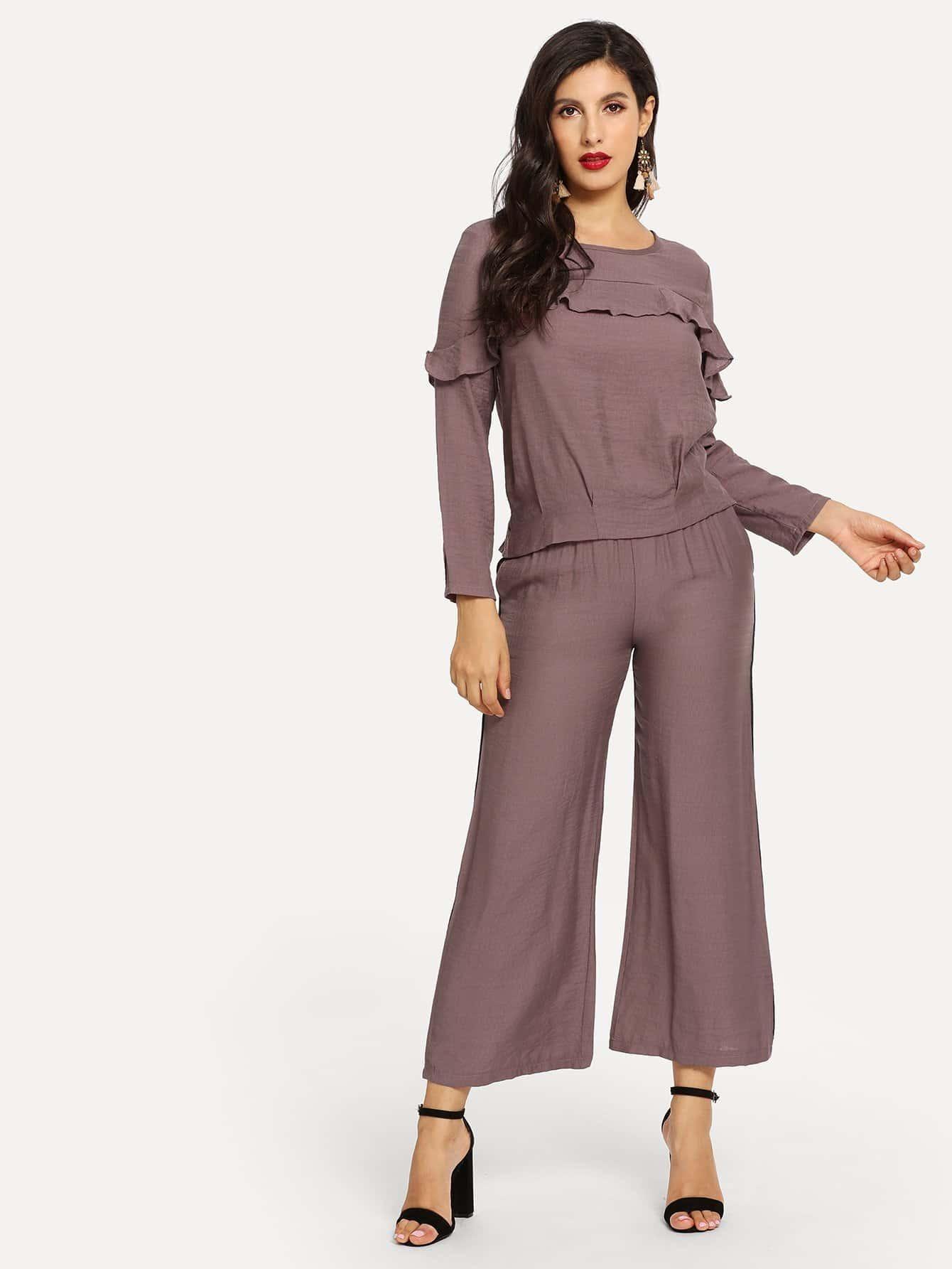 Купить Блуза с розеткой и широкие ножные штаны, Jeane, SheIn
