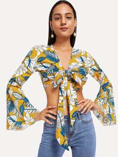 Leaf Print Knot Front Top