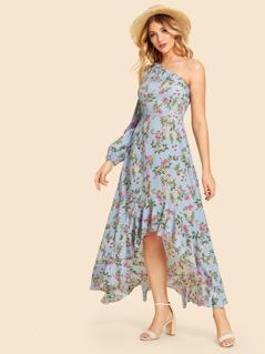 One Shoulder Ruffle Hem Floral Dress