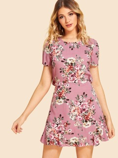 Ruffle Knot Backless Floral Dress