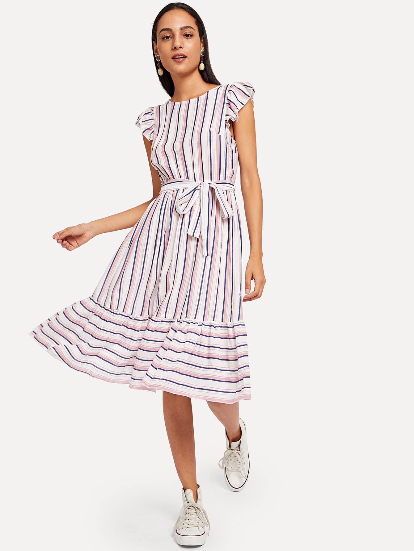 Купить Ruffle Hem Flutter Sleeve с полосатым платьем, Kary, SheIn