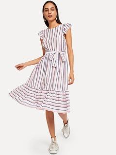 Ruffle Hem Flutter Sleeve Belted Striped Dress
