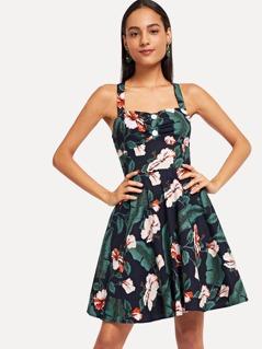 Criss Cross Flower Print Dress