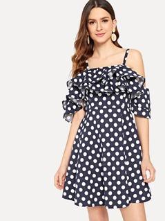 Layered Ruffle Polka Dot Cami Dress