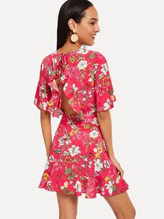 Flower Print Backless Dress