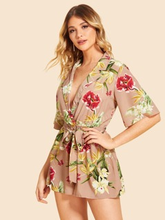 Notched Collar Self Belted Floral Romper