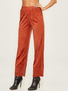 Solid Straight Leg Velvet Pants